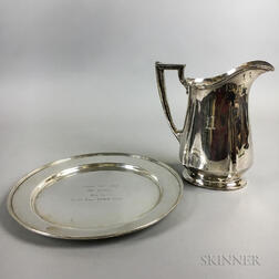 Lunt Sterling Silver Commemorative Tray and Sterling Silver Water Pitcher