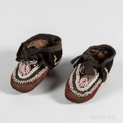 Pair of Northeast Beaded Cloth and Leather Child's Moccasins