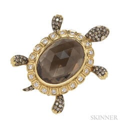 18kt Gold, Smoky Quartz, and Diamond Turtle Brooch