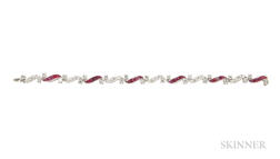 Platinum, Ruby, and Diamond Bracelet, Attributed to Oscar Heyman