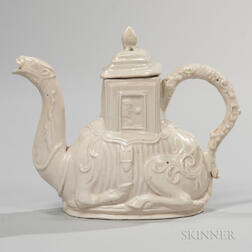 Staffordshire Salt-glazed Stoneware Camel Teapot and Cover