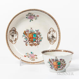 Armorial Export Porcelain Arms of Collins Tea Bowl and Saucer