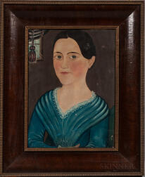 "Attributed to George Hartwell (Massachusetts, 1815-1901)      Portrait of ""Susan"" in a Blue Dress"
