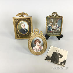 Two Framed Portrait Miniatures and an Interior Scene