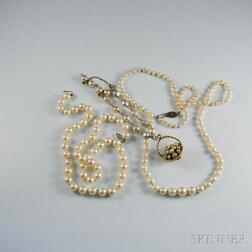Two Cultured Pearl Necklaces and a Baroque Pearl Bracelet