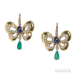 18kt Gold, Diamond, Sapphire, and Emerald Butterfly Earrings