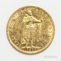 1910 Hungarian 10 Korona Gold Coin.     Estimate $100-200