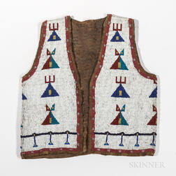 Sioux Pictorial Buffalo Hide Beaded Vest