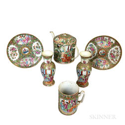 Six Pieces of Rose Medallion Porcelain Tableware