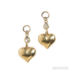 Pair of 14kt Gold and Diamond Heart Pendants