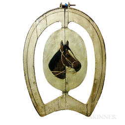 Painted Pine and Iron Horseshoe-form Trade Sign with Portrait of a Horse