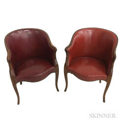 Pair of Leather-upholstered Mahogany Bergeres