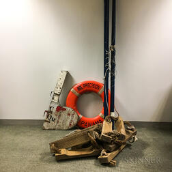 Ship's Boom, Life Ring, Wooden Rudder, and Ship's Rope Ladder