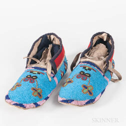 Pair of Northern Plains Beaded Hide Moccasins