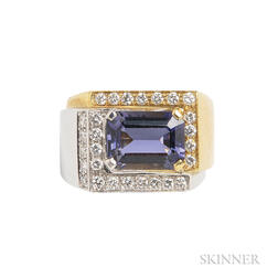 18kt Bicolor Gold, Iolite, and Diamond Ring