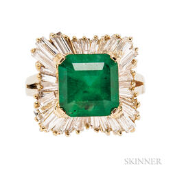 18kt Gold, Emerald, and Diamond Ballerina Ring