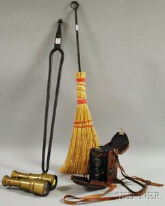 Vintage Rolleiflex Camera, Pair of Brass Binoculars, and Wrought Iron Hearth Tongs   and Broom.