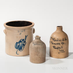Two Cobalt-decorated Stoneware Advertising Jugs and a Crock