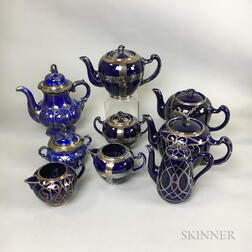 Sixteen Mostly Lenox Silver Overlay Porcelain Teaware Items