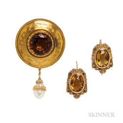 Two Gold and Citrine Jewelry Items