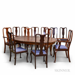 Queen Anne-style Mahogany Dining Table and Twelve Chairs