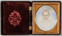 American School, Early 19th Century      Miniature Portrait of a Young Child