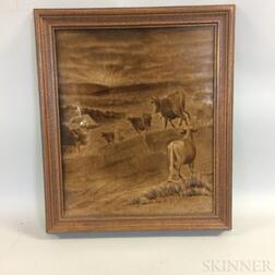 Framed Isaac Broome Glazed Tile of Cows
