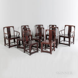 Set of Ten Hardwood Dining Chairs