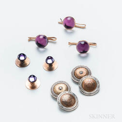 Pair of 14kt Gold and Diamond Cuff Links and 14kt Gold and Amethyst Cabochon Shirt Studs
