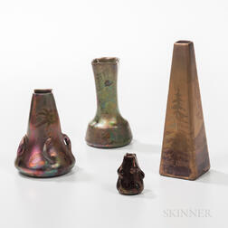 Four Small Clement Massier Iridescent Pottery Vases