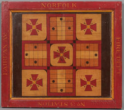 "Paint-decorated ""Norfolk Fire Department"" Parcheesi Game Board"