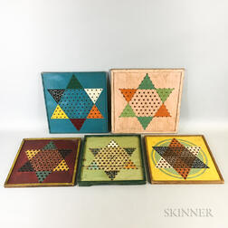 Five Polychrome Chinese Checkers Game Boards