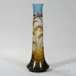 Large Art Glass Vase After Galle