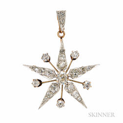 Edwardian Diamond Starburst Pendant/Brooch