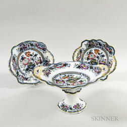 Ironstone Imari-palette Compote and Two Dishes