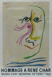 After Pablo Picasso (Spanish, 1881-1973)      Exhibition Poster from Musée d'Art Moderne de Céret: Homage à René Char
