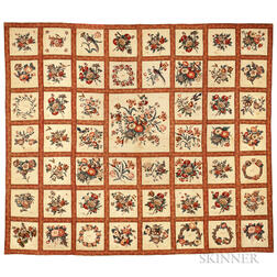 Large Broderie Perse Cotton and Glazed Album Quilt