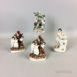 Four Staffordshire Ceramic Figural Groups