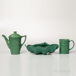 Three Wedgwood Matte Green-glazed Keith Murray Items