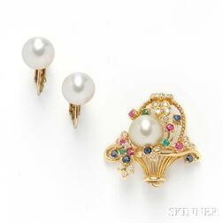 Cultured Pearl Pendant/Brooch and Earclips