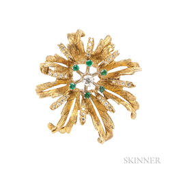 14kt Gold, Emerald, and Diamond Flower Pendant/Brooch