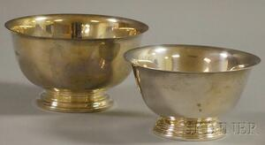 Two Small Sterling Silver Revere-type Footed Bowls