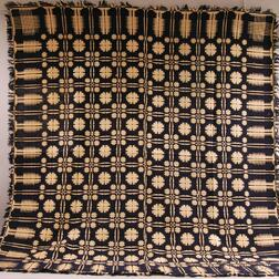 Navy and White Geometric Pattern Woven Coverlet