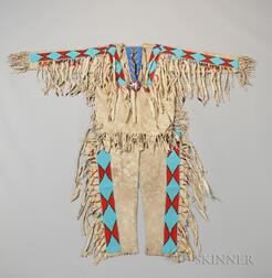 Blackfeet Chief's Beaded Hide Shirt and Leggings