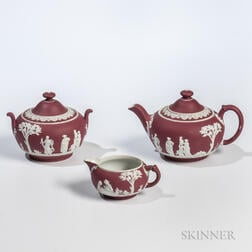Wedgwood Three-piece Crimson Jasper Dip Tea Set