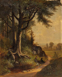 Benjamin Champney (American, 1817-1907)      Figure and Dog at Rest by Hillside Trees