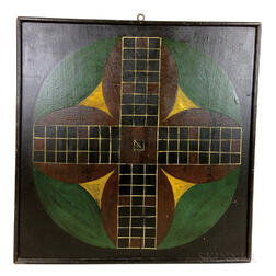 Polychrome Painted Wood Double-sided Game Board