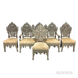 Anglo/Indian-style Four-piece Carved Hardwood and Mother-of-pearl Parlor Suite