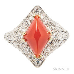 Diamond and Coral Ring
