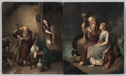 Continental School, 19th Century      Two Paintings Depicting Two Figures: An Old Man with a Harp Accompanied by a Young Woman